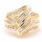 Fine Estate Vintage 14K Yellow Gold Diamond 1.00CTW Bypass Right Hand Cocktail Ring