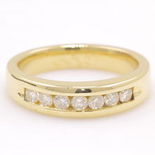 Classic Men's 14K Yellow Gold Natural Diamond Wedding Ring Band
