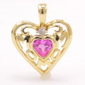 NEW Modern MOM 14K Yellow Gold Diamond Pink Topaz Heart Pendant