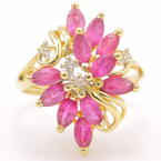 Vintage Retro 14K Yellow Gold Pink Spinel and Diamond 1.75CTW Cocktail Ring