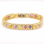 "Vintage Retro Estate 14K White Gold Multi-Colored Gem Statement 7"" Bracelet"