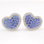 Modern Fashion 18K White Gold Blue Spinel 5.00CTW and Diamonds Heart Latch Back Earrings