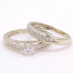 Classic Modern 14K White Gold Princess Cut VS Diamond Wedding Ring Duo Set