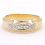 Vintage Classic Estate Unisex 14K Yellow Gold Natural VS Diamond Ring Band