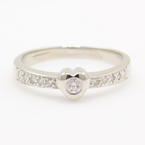 NEW Modern 14K White Gold Diamond Heart Promise Right Hand Ring