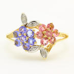 Vintage 10K Yellow Gold Iolite Tourmaline Natural Gem Flower Right Hand Ring