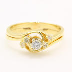 Fine Vintage Estate Ladies 14K Yellow Gold  Natural Diamond Wedding Ring Set