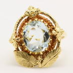 Vintage Estate 10K Yellow Gold Aquamarine Gemstone 2.50CTW Right Hand Ring