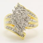 Vintage Classic Estate 10K Yellow Gold Diamond Gorgeous Ladies Cocktail Ring