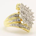 Vintage Classic Estate 10K Yellow Gold Diamond Gorgeous Ladies Cocktail Ring