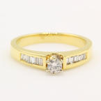 Classic Vintage Estate 14K Yellow Gold Round Baguette Diamond Engagement Ring