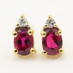 Classic Estate 14K Yellow Gold Diamond Ruby BirthStone Push Back Stud Earrings