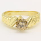 Modern Estate Vintage 14K Yellow Gold Solitaire Diamond 0.85CTW Engagement Bypass Ring