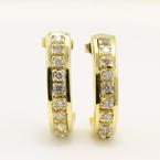 Estate Retro Vintage 14k Yellow Gold Natural Diamond Huggie Push Back Earrings