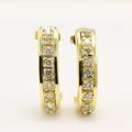 Estate Retro Vintage 14k Yellow Gold Natural Diamond Huggie Push Back Earrings