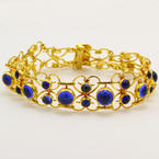 "Vintage Retro Estate 22K Yellow Gold Blue Cabochon Ornate 7"" Bracelet"