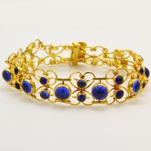 "Vintage Retro Estate 22K Yellow Gold Blue Cabochon Ornate 7"" Bracelet"