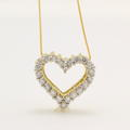 "Vintage Estate 14K Yellow Gold Diamond Heart Pendant and 18"" Chain Necklace"