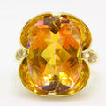 Vintage Estate 14K Yellow Gold Natural Mystic Sunset Orange Topaz Diamond 14.30CTW Cocktail Ring
