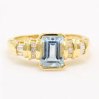 Vintage Estate Art Deco 14K Yellow Gold Aquamarine & Diamond Cocktail Ring