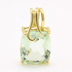 Vintage Estate 10K Yellow Gold Green Amethyst Cushion 4.00CTW Statement Pendant