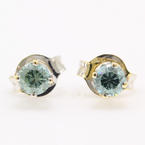 Modern Estate 14K White Gold Blue Diamond 0.30CTW Stud Push Back Earrings