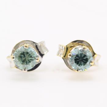 NEW Modern 14K White Gold Blue Diamond 0.30CTW Stud Push Back Earrings