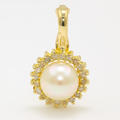 Vintage Estate Classic 14K Yellow Gold White Pearl Diamond Halo Pendant
