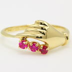 NEW Modern 14K Yellow Gold Pink Red Spinel Natural Gems Right Hand Ring