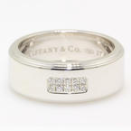 Classic Estate Mens 18K 750 White Gold Tiffany&Co Diamond Century Ring Band