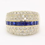 Fine Vintage Retro 18K White Gold Sapphire & Diamond 1.89CTW Right Hand Ring Band