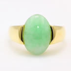 Fine Vintage Estate Retro 14K Yellow Gold Jade Cabochon 4.80CTW Cocktail Right Hand Ring