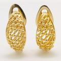 Modern Estate 14K Yellow Gold Bead Half Wedge Push Back Earrings