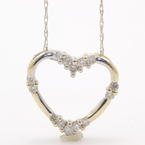 Lovely Ladies 14K White Gold Chain and Diamond 0.28CTW Heart Pendant Jewelry