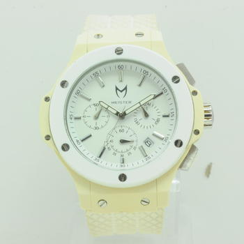 Meister Superstar White Dial Rubber Band Watch