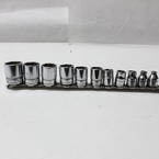 "Snap On 11 Pc Shallow Socket Set 6 Point 3/8"" Drive 1/4"" - 7/8"" SAE 211FSY"