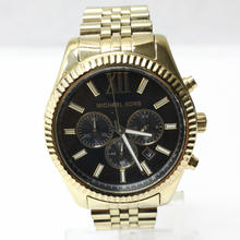 Michael Kors Lexington Chronograph Black Dial Gold-tone Mens Watch MK8286