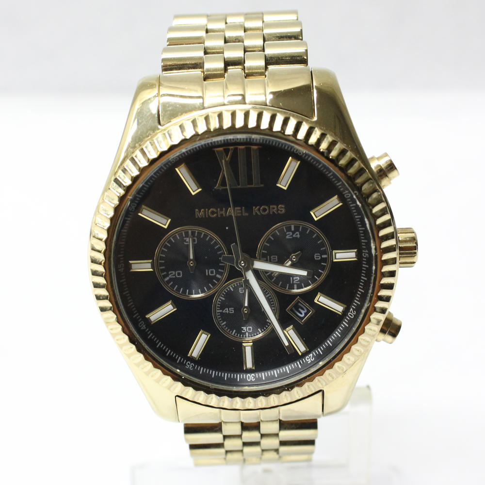 5809d8481af1 Michael Kors Lexington Chronograph Black Dial Gold-tone Mens Watch MK8286