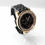 Michele Black Dial Gold Tone Diamond Bezel Large Chronograph Sport Sail Watch
