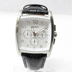 DKNY Men's NY1496 Black Calfskin Square White Dial Leather Strap Watch