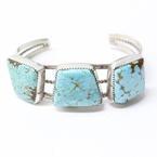 Vintage Handmade Sterling Silver Turquoise Bangle Bracelet Herbert Tsosie