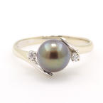 Vintage Estate Ladies 14K White Gold Tahitian Pearl Diamond Right Hand Ring