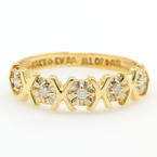 NEW Modern 10K Yellow Gold Five Stone XOXO Diamond Anniversary Ring Band