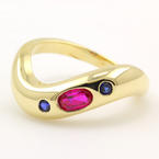 Retro Vintage Estate 14K Yellow Red Ruby Blue Spinel 0.30CTW Stackable Wave Ring
