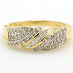 NEW Modern 10K Yellow Gold 1/4CTW Diamond Mom Right Hand Ring Band