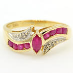 Estate Vintage 10K Yellow Gold Ruby Diamond 0.35CTW BirthStone Ring