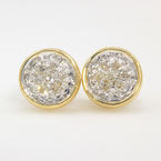Fine Vintage Estate Classic 14K Yellow Gold Natural Diamond Stud Earrings