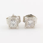 NEW Classic Platinum Princess Cut Diamond 1/2CTW Stud Push Back Earrings