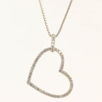 NEW Modern 14K White Gold Diamond 1.10CTW Heart Pendant Chain