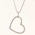 NEW Modern 14K White Gold Diamond 1.10CTW Heart Pendant Chain